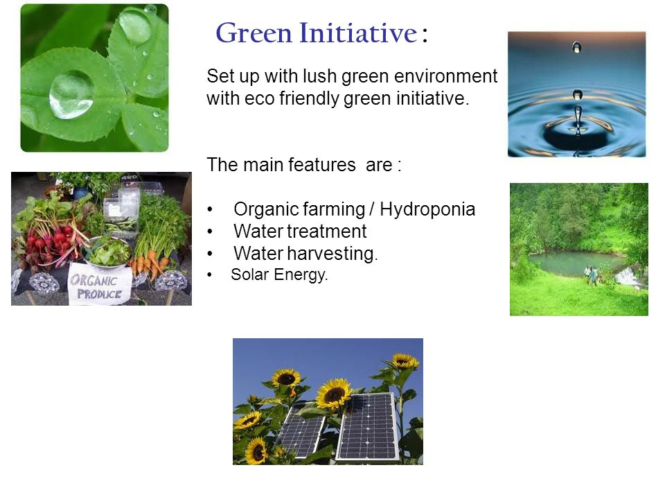 Green Initiative : Set up with lush green environment with eco friendly green initiative.