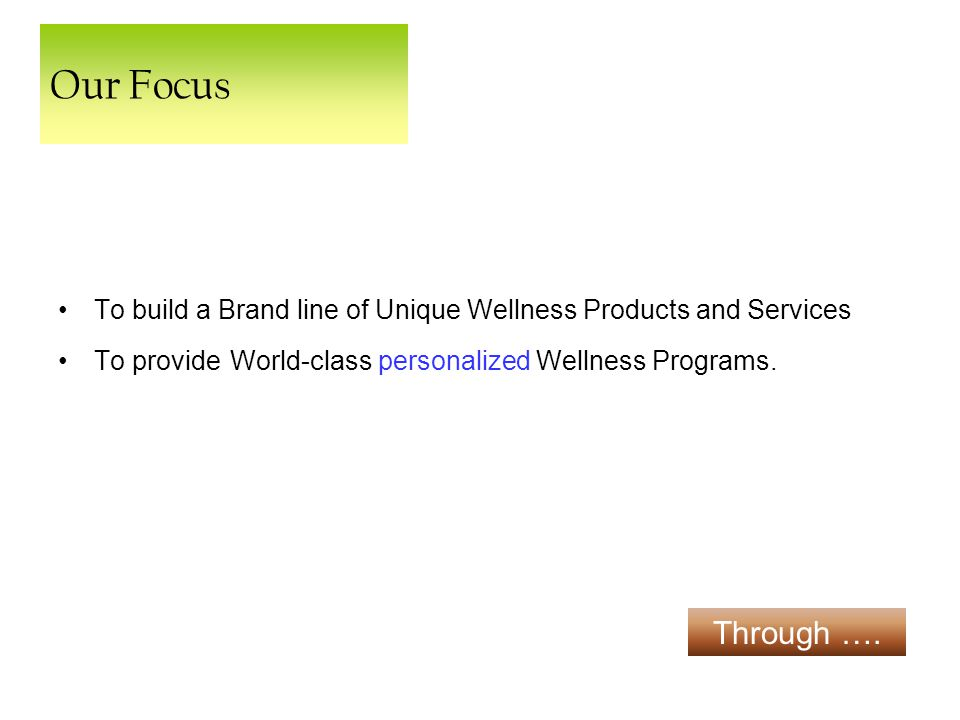 Our Focus To build a Brand line of Unique Wellness Products and Services To provide World-class personalized Wellness Programs.