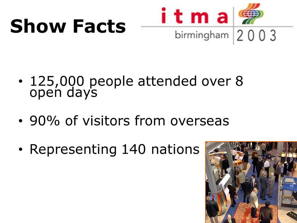 Show Facts 125,000 people attended over 8 open days 90% of visitors from overseas Representing 140 nations