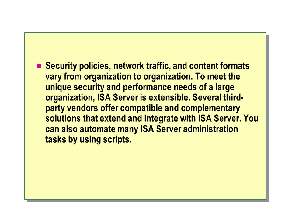 Security policies, network traffic, and content formats vary from organization to organization.