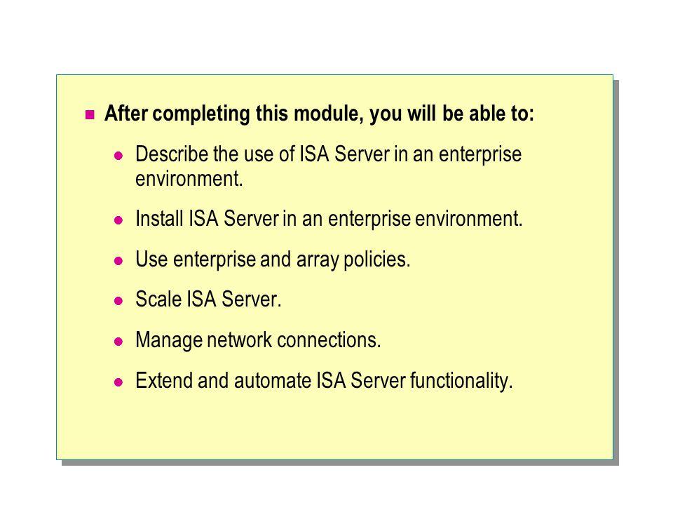  Introducing ISA Server Enterprise Edition Benefits of ISA Server Enterprise Edition Using ISA Server Enterprise Edition