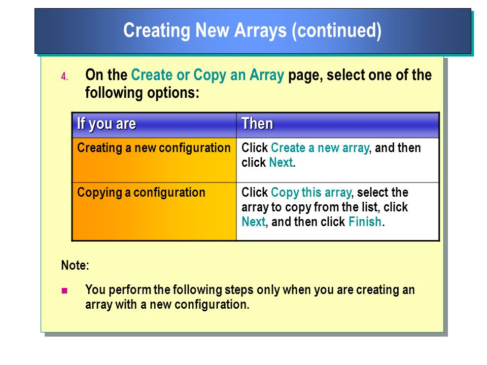 Creating New Arrays (continued) 4.