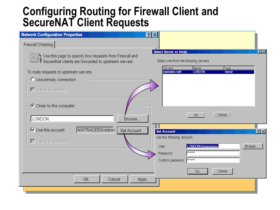 Configuring Routing for Firewall Client and SecureNAT Client Requests Network Configuration Properties Firewall Chaining OKCancel Use this page to specify how requests from Firewall and SecureNat clients are forwarded to upstream servers.