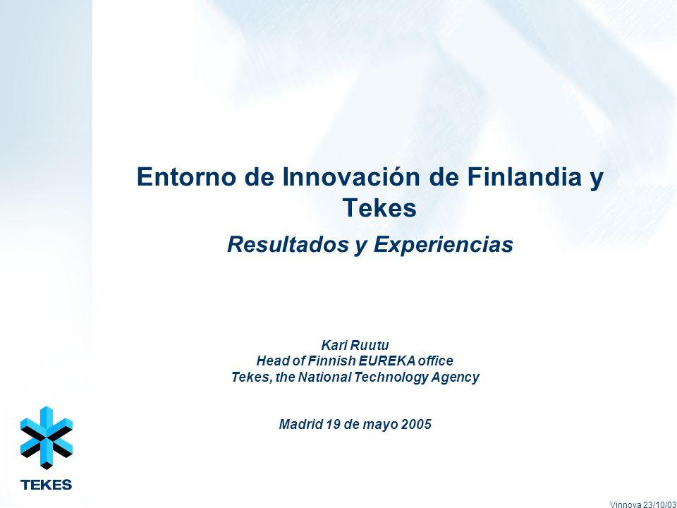 Entorno de Innovación de Finlandia y Tekes Resultados y Experiencias Vinnova 23/10/03 Kari Ruutu Head of Finnish EUREKA office Tekes, the National Technology Agency Madrid 19 de mayo 2005