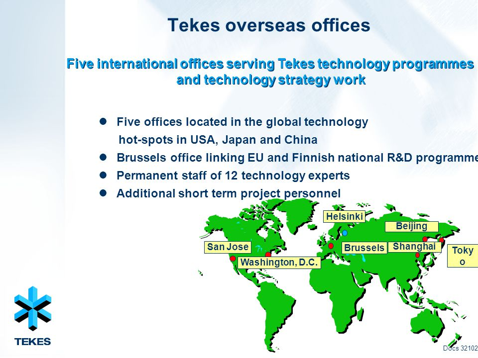 Tekes overseas offices Five offices located in the global technology hot-spots in USA, Japan and China Brussels office linking EU and Finnish national R&D programmes Permanent staff of 12 technology experts Additional short term project personnel Five international offices serving Tekes technology programmes and technology strategy work Five international offices serving Tekes technology programmes and technology strategy work Docs 32102 Helsinki Toky o Brussels San Jose Washington, D.C.