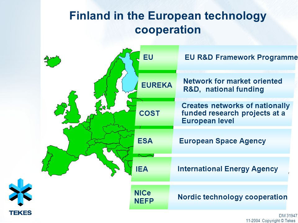 International Energy Agency Finland in the European technology cooperation DM 31947 11-2004 Copyright © Tekes Network for market oriented R&D, national funding Creates networks of nationally funded research projects at a European level European Space Agency Nordic technology cooperation EU R&D Framework ProgrammeEU EUREKA COST ESA IEA International Energy Agency NICe NEFP