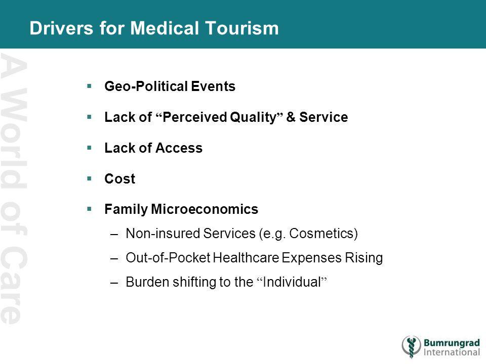A World of Care Drivers for Medical Tourism  Geo-Political Events  Lack of Perceived Quality & Service  Lack of Access  Cost  Family Microeconomics –Non-insured Services (e.g.
