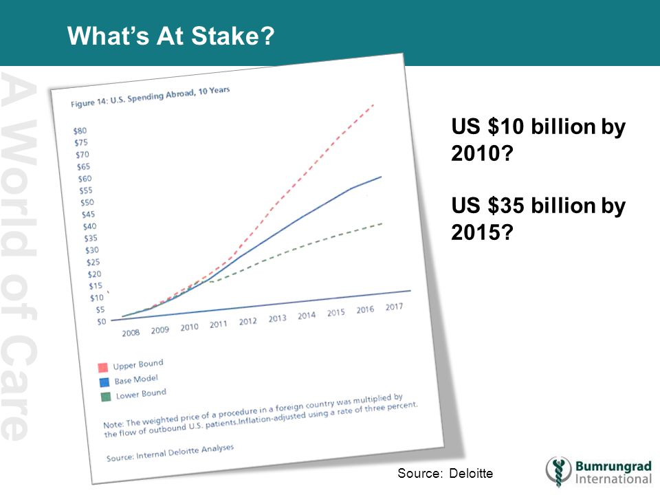 A World of Care What's At Stake US $10 billion by 2010 US $35 billion by 2015 Source: Deloitte