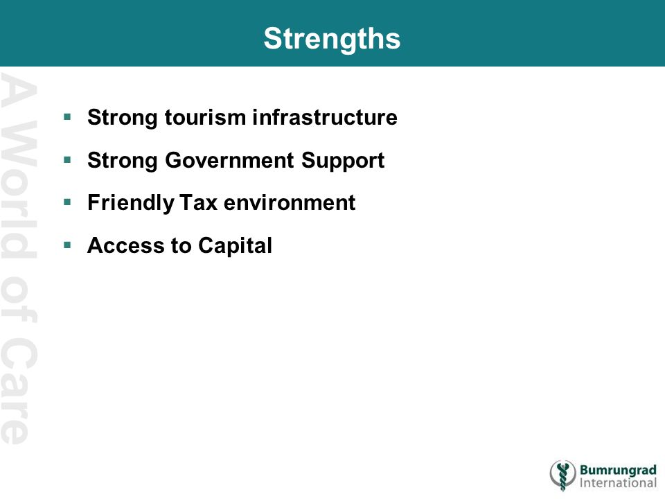 A World of Care Strengths  Strong tourism infrastructure  Strong Government Support  Friendly Tax environment  Access to Capital