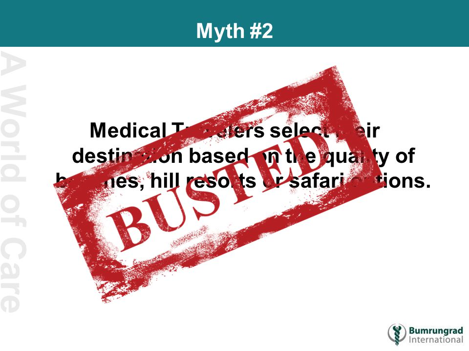A World of Care Myth #2 Medical Travelers select their destination based on the quality of beaches, hill resorts or safari options.
