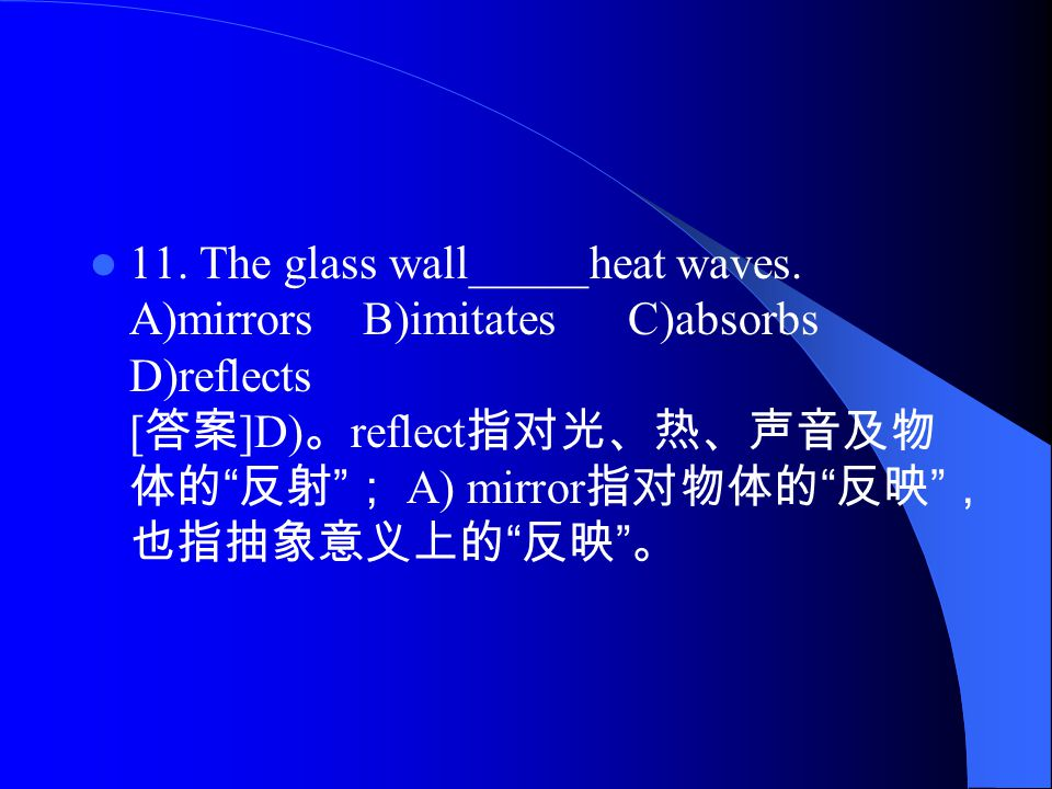 11. The glass wall_____heat waves.