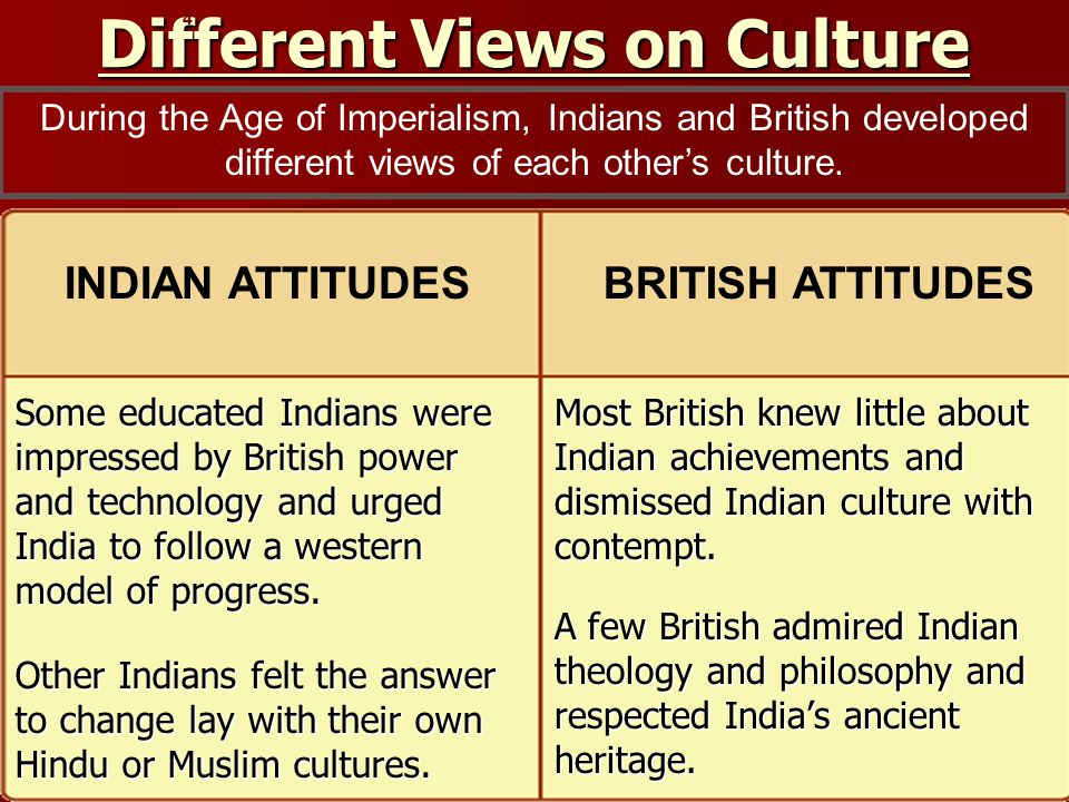 Different Views on Culture Some educated Indians were impressed by British power and technology and urged India to follow a western model of progress.