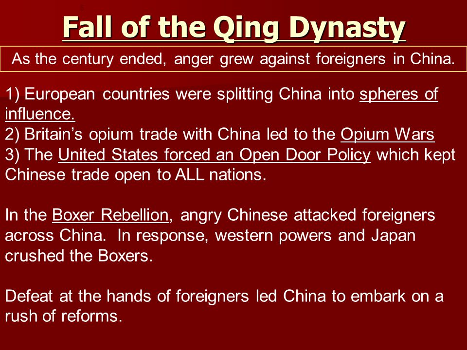 Fall of the Qing Dynasty 1) European countries were splitting China into spheres of influence.