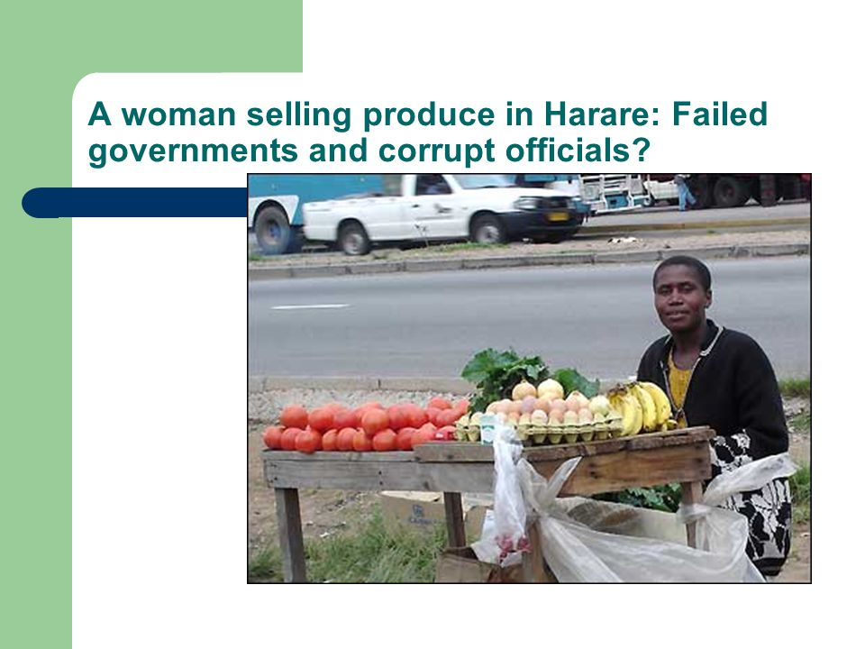 A woman selling produce in Harare: Failed governments and corrupt officials?