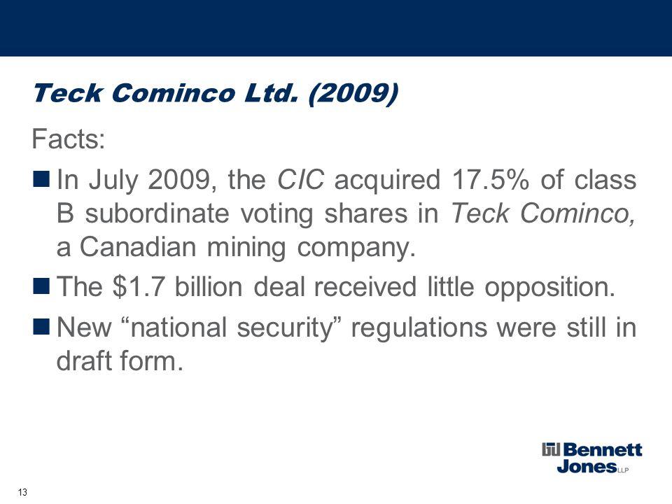 13 Teck Cominco Ltd.