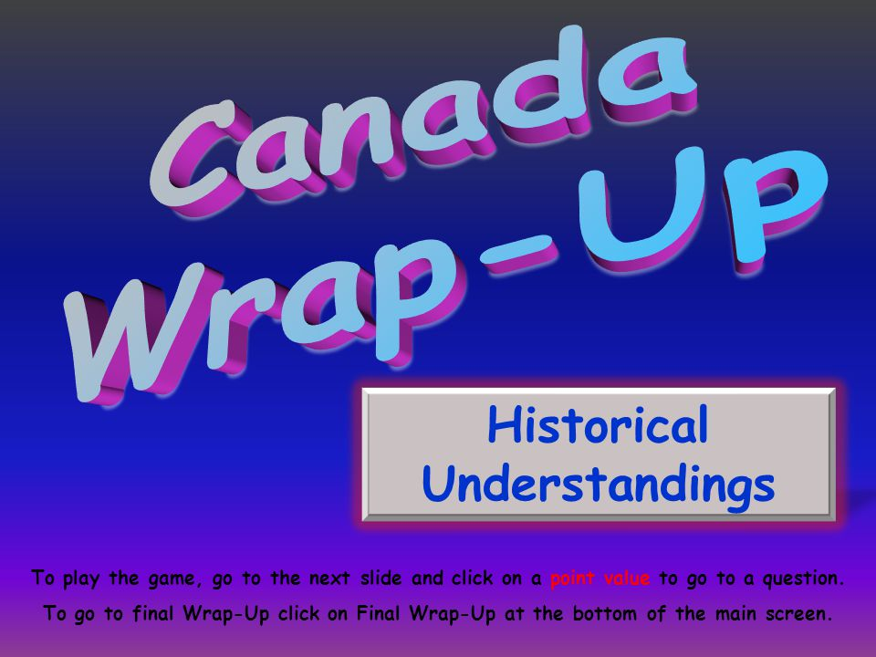 Historical Understandings To play the game, go to the next slide and click on a point value to go to a question. To go to final Wrap-Up click on Final