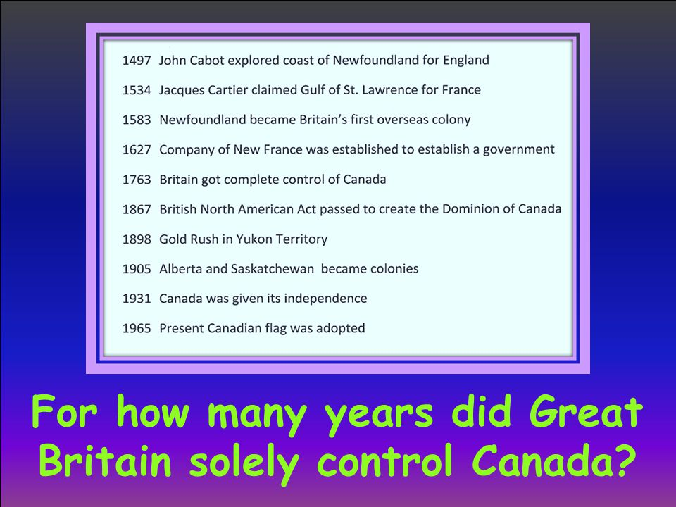 For how many years did Great Britain solely control Canada