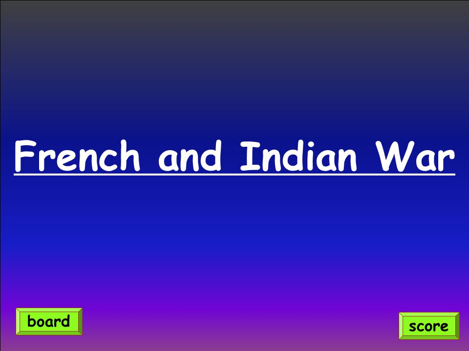 French and Indian War score board