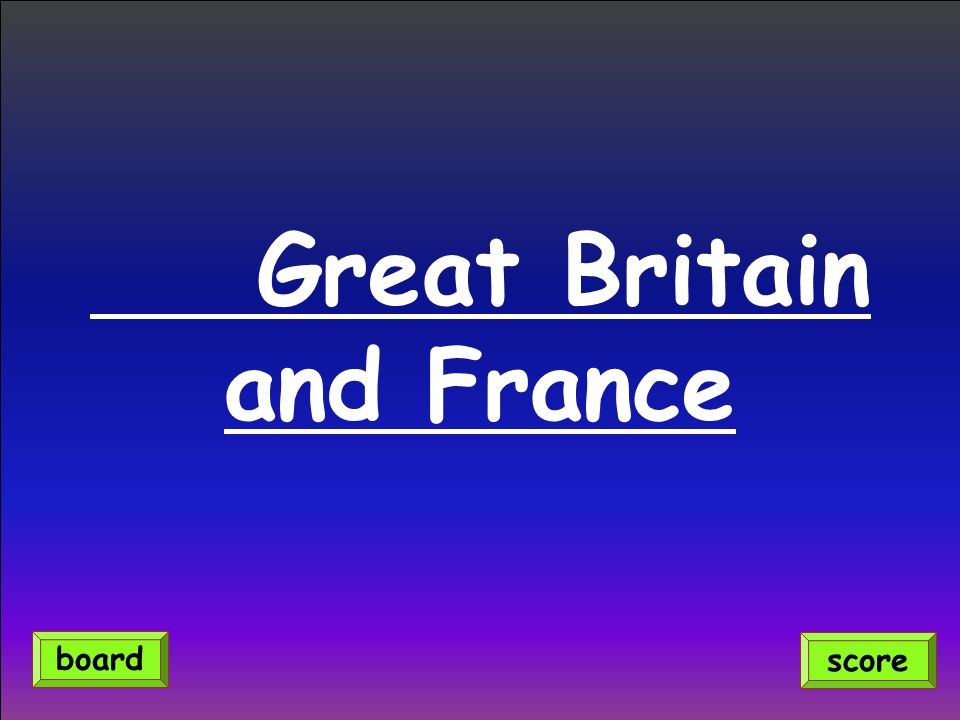 Great Britain and France score board
