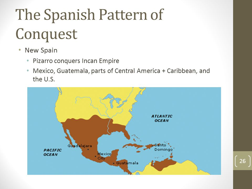 The Spanish Pattern of Conquest New Spain Pizarro conquers Incan Empire Mexico, Guatemala, parts of Central America + Caribbean, and the U.S.