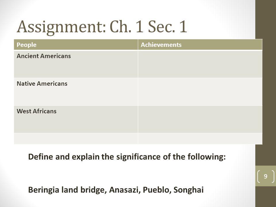 Assignment: Ch. 1 Sec.