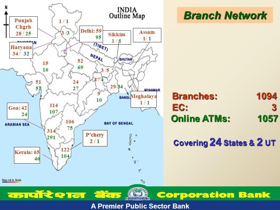 A Premier Public Sector Bank 5 Branches: 1094 EC: 3 Online ATMs: 1057 Covering 24 States & 2 UT 15 16 Delhi: 59 95 52 69 24 27 314 291 122 104 Goa: 42 24 Kerala: 65 46 106 75 114 107 Meghalaya 1 / 1 51 57 9 10 3 /5 4 / 4 1 / 1 3 /3 Punjab Chgrh 28 / 25 Haryana 34 / 32 Branch Network P'chery 2 / 1 Assam 1/ 1 Sikkim 1 / 1 29/34 A Premier Public Sector Bank