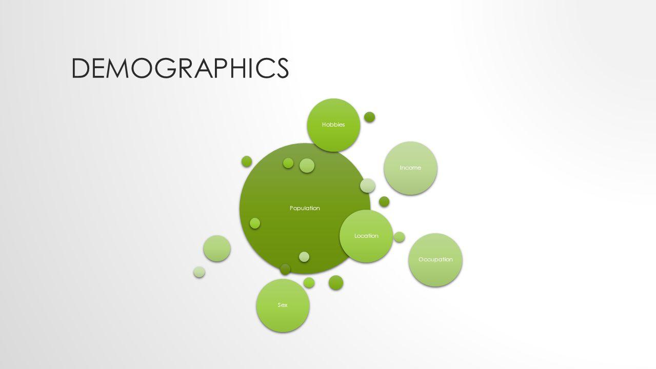 DEMOGRAPHICS Population LocationIncomeOccupationSexHobbies