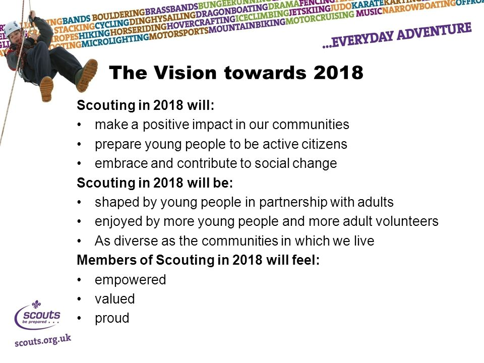 The Vision towards 2018 Scouting in 2018 will: make a positive impact in our communities prepare young people to be active citizens embrace and contri
