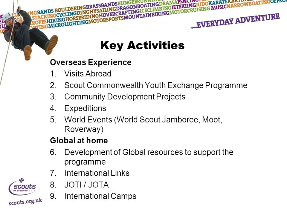 Key Activities Overseas Experience 1.Visits Abroad 2.Scout Commonwealth Youth Exchange Programme 3.Community Development Projects 4.Expeditions 5.World Events (World Scout Jamboree, Moot, Roverway) Global at home 6.Development of Global resources to support the programme 7.International Links 8.JOTI / JOTA 9.International Camps