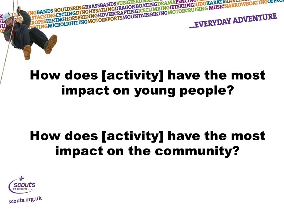 How does [activity] have the most impact on young people.