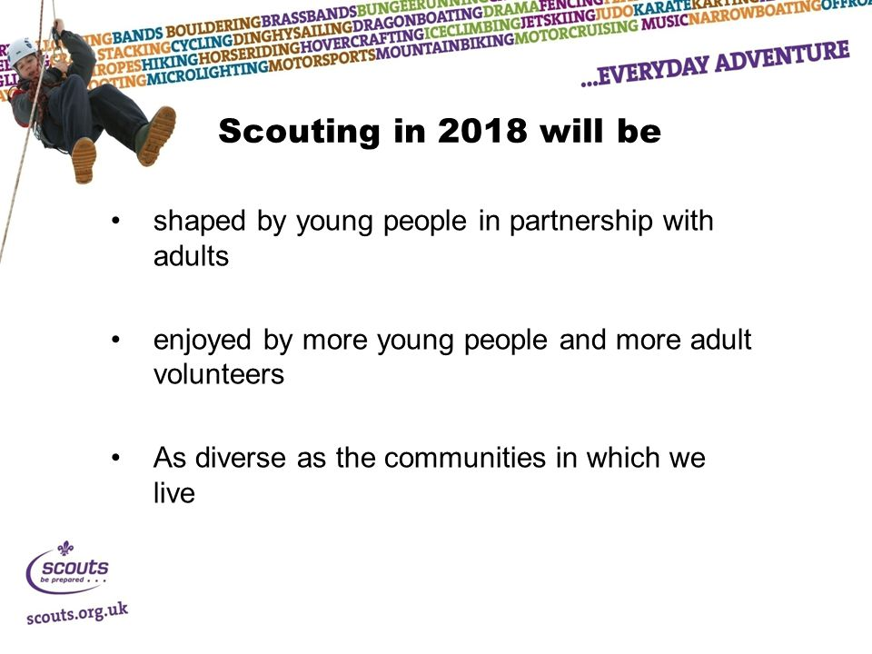 Scouting in 2018 will be shaped by young people in partnership with adults enjoyed by more young people and more adult volunteers As diverse as the communities in which we live