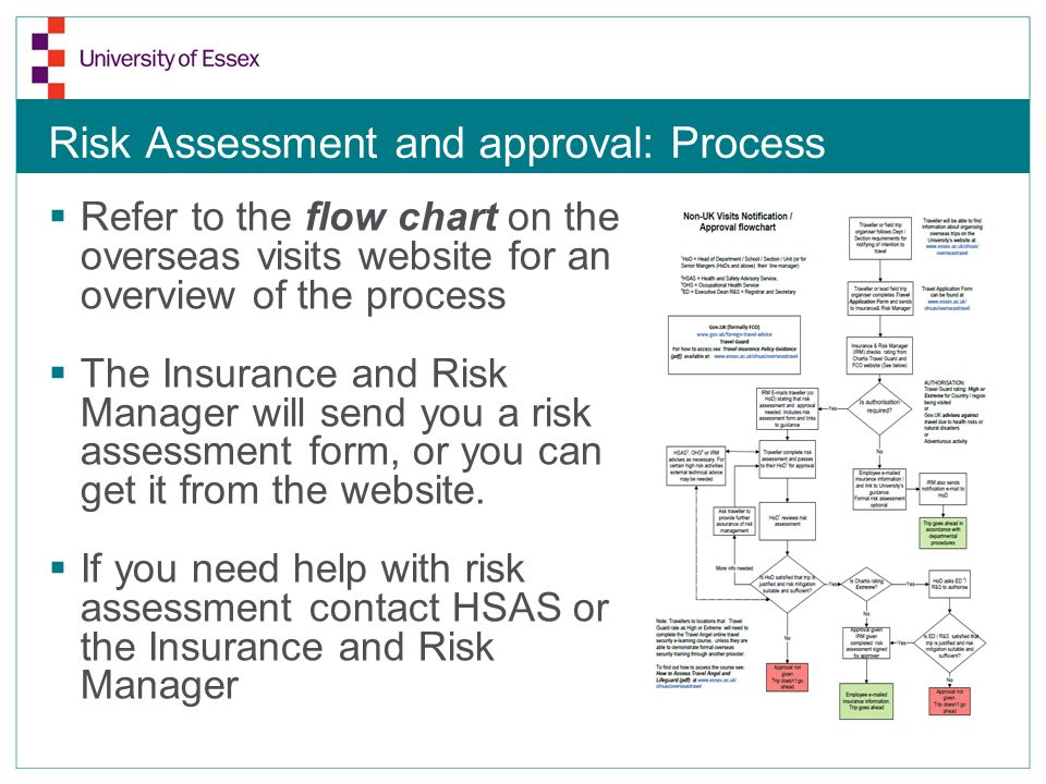 Risk Assessment and approval: Process  Refer to the flow chart on the overseas visits website for an overview of the process  The Insurance and Risk Manager will send you a risk assessment form, or you can get it from the website.