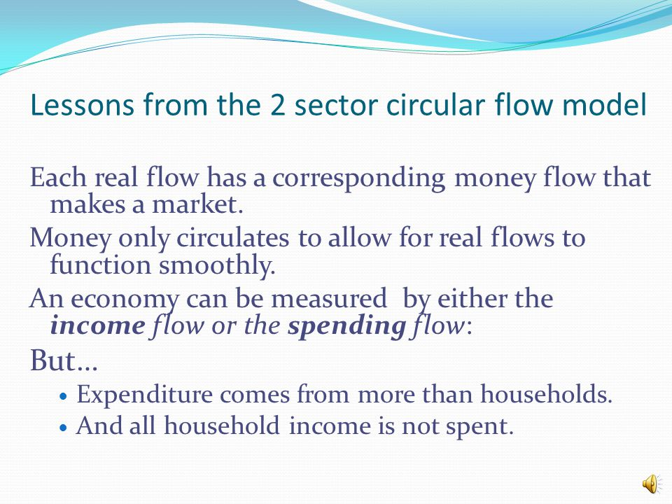 Lessons from the 2 sector circular flow model Each real flow has a corresponding money flow that makes a market.