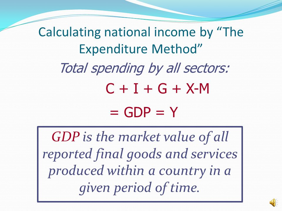 Calculating national income by The Expenditure Method Total spending by all sectors: C + I + G + X-M = GDP = Y GDP is the market value of all reported final goods and services produced within a country in a given period of time.