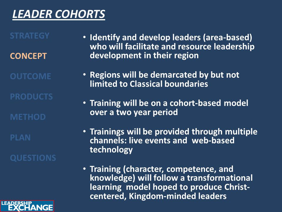 Identify and develop leaders (area-based) who will facilitate and resource leadership development in their region Regions will be demarcated by but not limited to Classical boundaries Training will be on a cohort-based model over a two year period Trainings will be provided through multiple channels: live events and web-based technology Training (character, competence, and knowledge) will follow a transformational learning model hoped to produce Christ- centered, Kingdom-minded leaders STRATEGY CONCEPT OUTCOME PRODUCTS METHOD PLAN QUESTIONS LEADER COHORTS