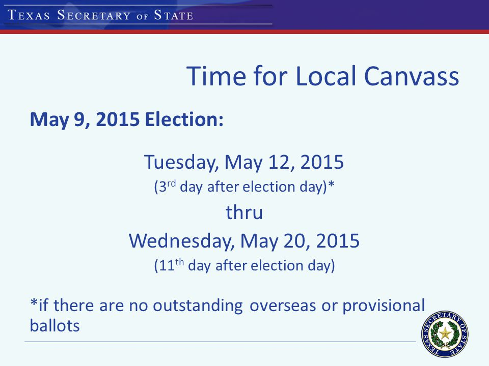 Time for Partial Manual Count May 9, 2015 Election: First day: Tuesday, May 12, 2015 (72 hours after election day) Last day: Monday, June 1, 2015 (deadline is 21 st day after election day; moved to next business day)