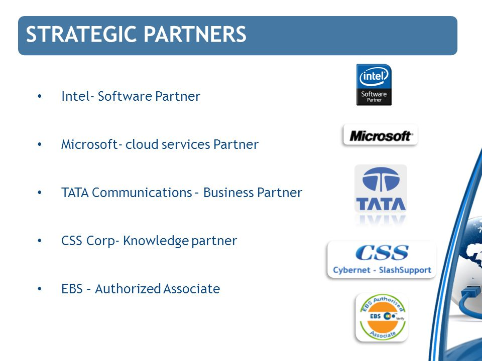STRATEGIC PARTNERS Intel- Software Partner Microsoft- cloud services Partner TATA Communications – Business Partner CSS Corp- Knowledge partner EBS –