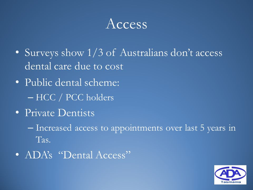 Access Surveys show 1/3 of Australians don't access dental care due to cost Public dental scheme: – HCC / PCC holders Private Dentists – Increased acc