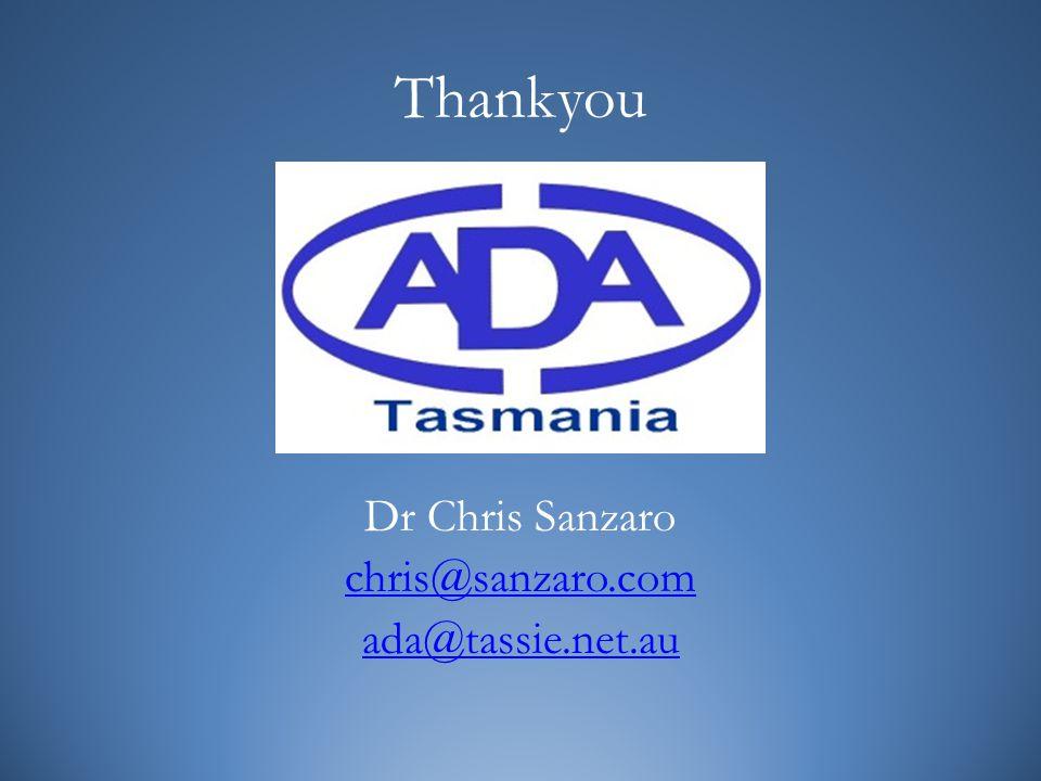 Thankyou Dr Chris Sanzaro chris@sanzaro.com ada@tassie.net.au