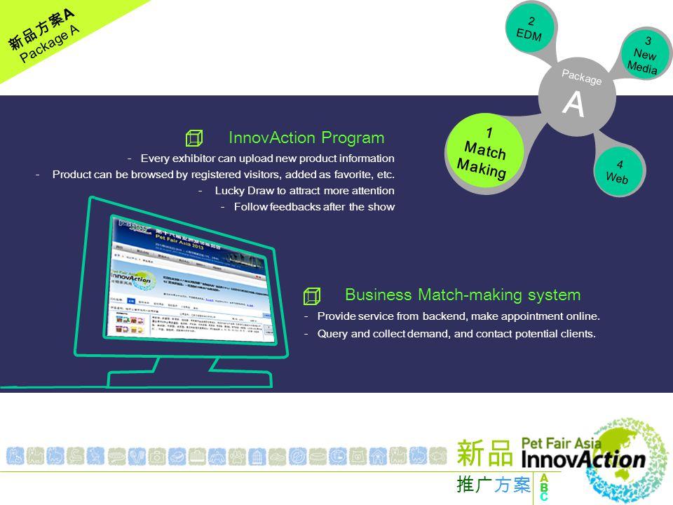 新品方案 A Package A 1 Match Making 2 EDM 3 New Media 4 Web Package A Media Promotion - New product and brand pre-show warm-up.