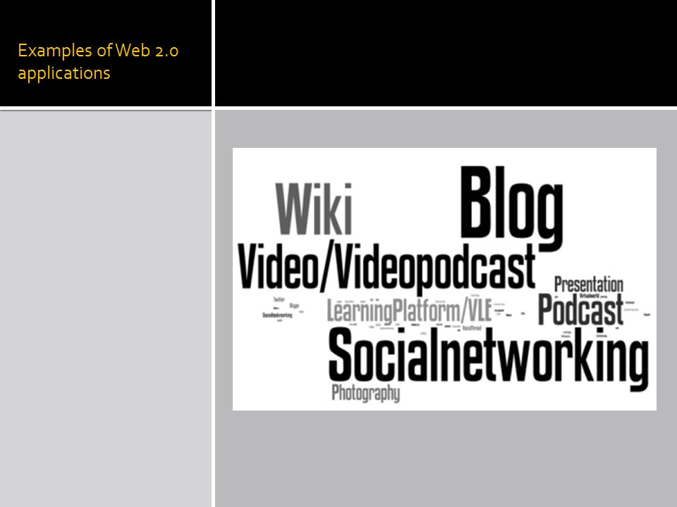 Examples of Web 2.0 applications