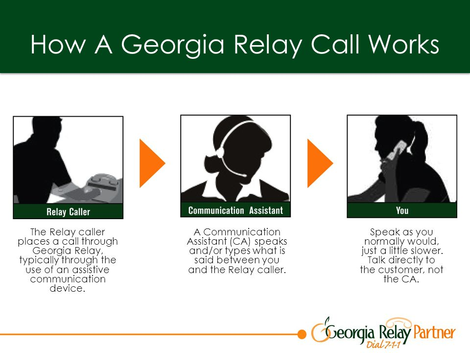 How A Georgia Relay Call Works The Relay caller places a call through Georgia Relay, typically through the use of an assistive communication device.