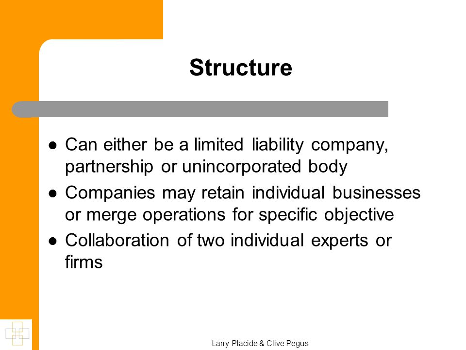 Structure Can either be a limited liability company, partnership or unincorporated body Companies may retain individual businesses or merge operations