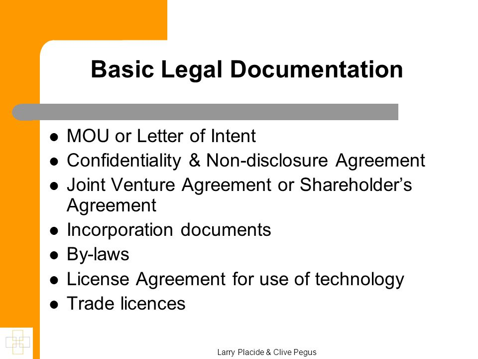 Basic Legal Documentation MOU or Letter of Intent Confidentiality & Non-disclosure Agreement Joint Venture Agreement or Shareholder's Agreement Incorp