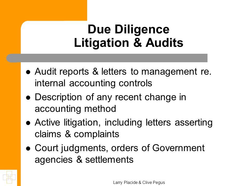Due Diligence Litigation & Audits Audit reports & letters to management re.