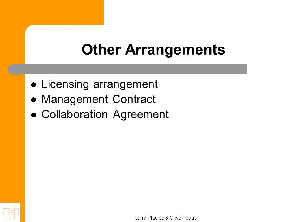 Larry Placide & Clive Pegus Other Arrangements Licensing arrangement Management Contract Collaboration Agreement