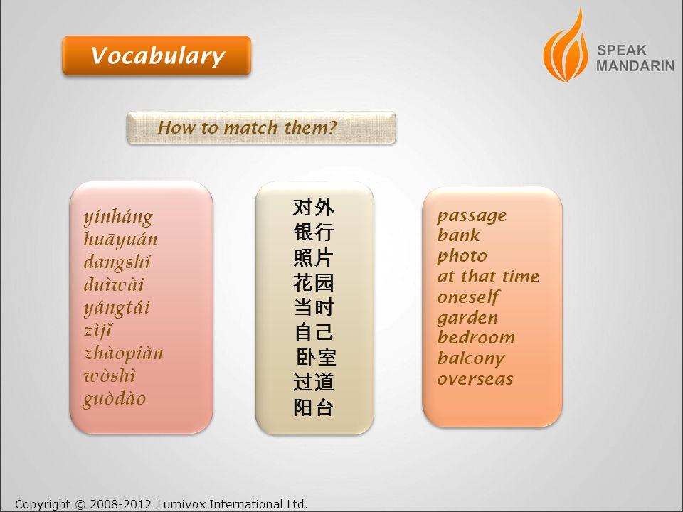 Copyright © 2008-2012 Lumivox International Ltd. Vocabulary How to match them.