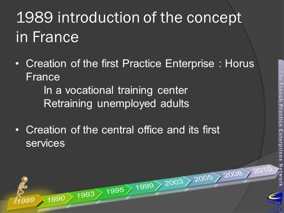 1990 setting up of a network  Growing of the network, setting up 10 Practice firms for adults in vocational training center  Special focus on retraining employees from army industry, textile industry… coming out from big companies : Giat Industrie, Moulinex, Matra, Myrys, France Telecom…  Training also executives
