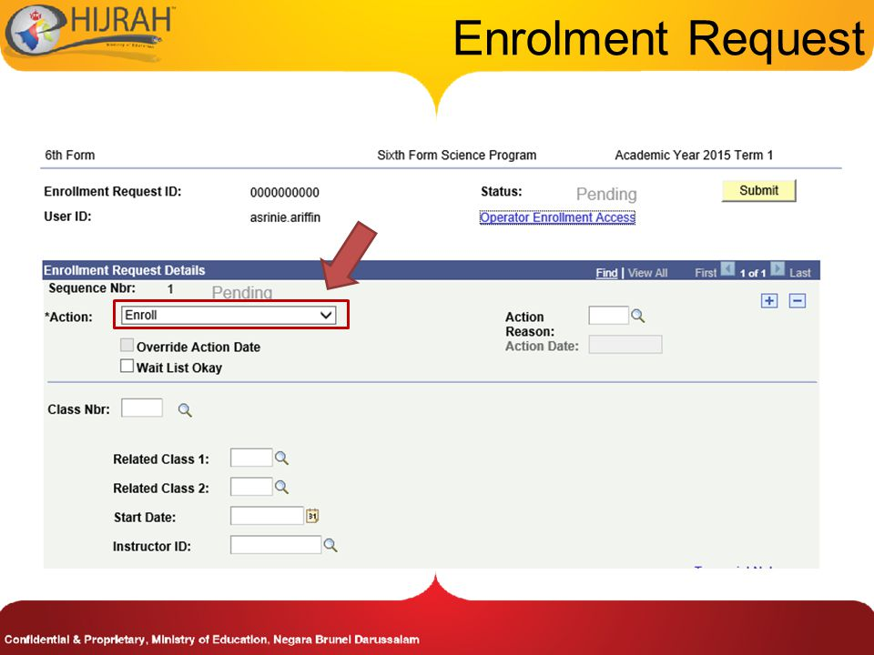 Enrolment Request