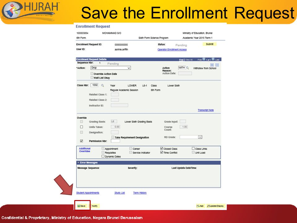 Save the Enrollment Request
